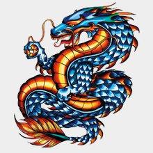Переводная татуировка Дракон синий