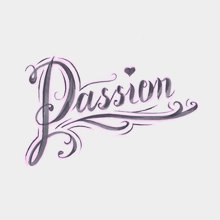 """Переводная татуировка Тату-надпись """"Passion"""""""