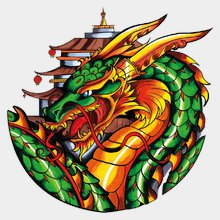 Переводная татуировка Дракон зеленый