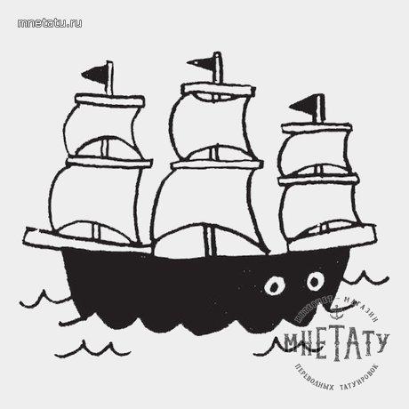 переводная татуировка кораблик